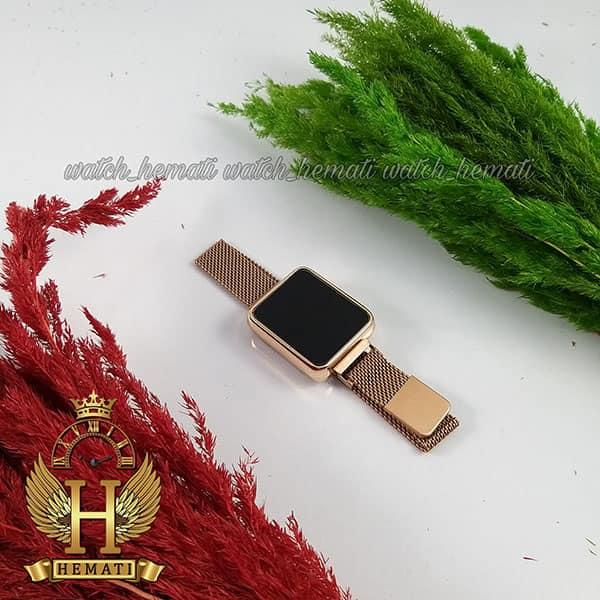 خرید ارزان ساعت ال ای دی زنانه led100 (بند مگنتی) قاب مستطیل رنگ رزگلد