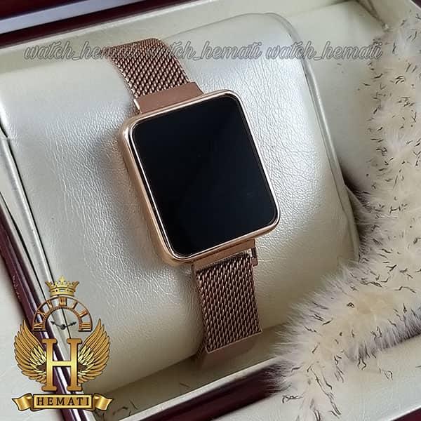 خرید ، قیمت ، مشخصات ساعت ال ای دی زنانه led100 (بند مگنتی) قاب مستطیل رنگ رزگلد