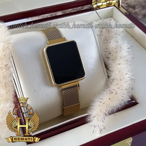 خرید انلاین ساعت ال ای دی زنانه led101 (بند مگنتی) قاب مستطیل و زنگ طلایی