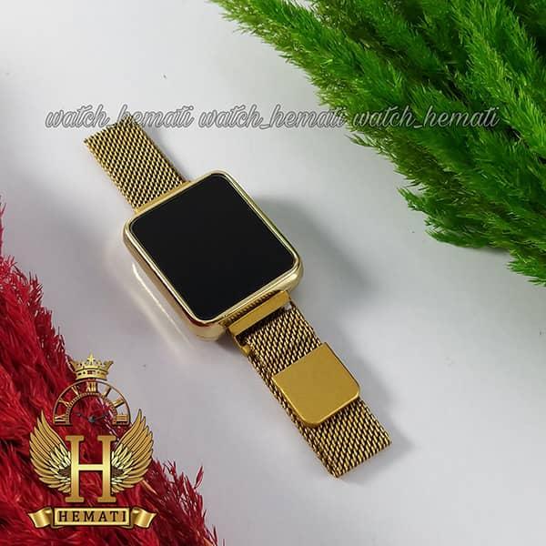خرید ، قیمت ، مشخصات ساعت ال ای دی زنانه led101 (بند مگنتی) قاب مستطیل و زنگ طلایی