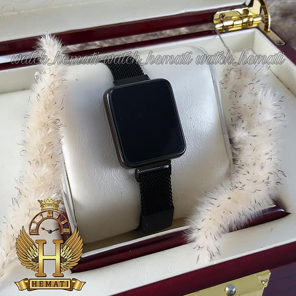 خرید اینترنتی ساعت ال ای دی زنانه led102 (بند مگنتی) قاب مستطیلی رنگ مشکی