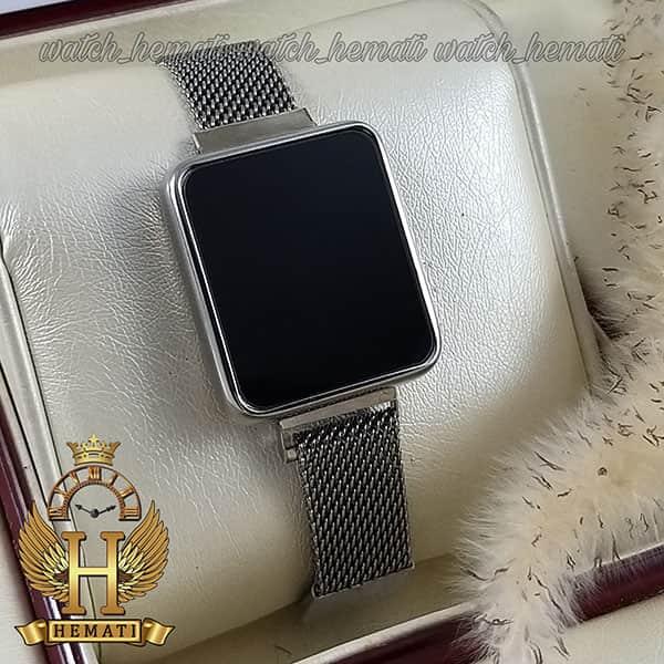 خرید ، قیمت ، مشخصات ساعت ال ای دی زنانه led103 (بند مگنتی) قاب مستطیل نقره ای
