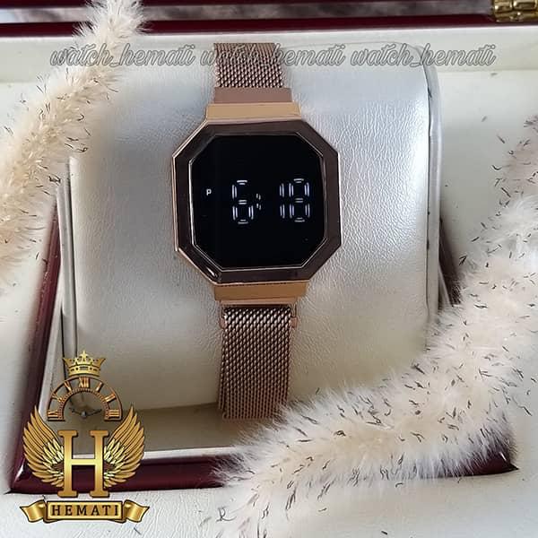 خرید ارزان ساعت ال ای دی زنانه led300 (بند مگنتی) قاب شش ضلعی رزگلد