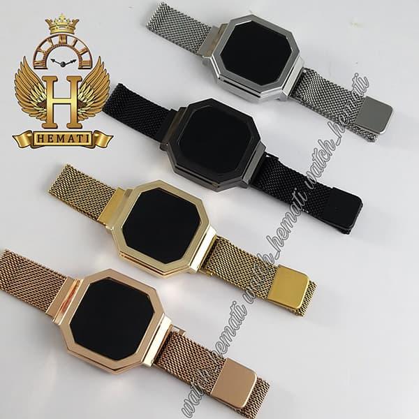 خرید انلاین ساعت ال ای دی زنانه led300 (بند مگنتی) قاب شش ضلعی در رنگبندی