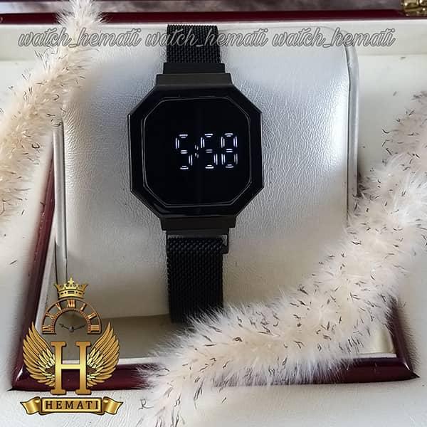 خرید ، قیمت ، مشخصات ساعت ال ای دی زنانه led302 (بند مگنتی) قاب و بند مشکی
