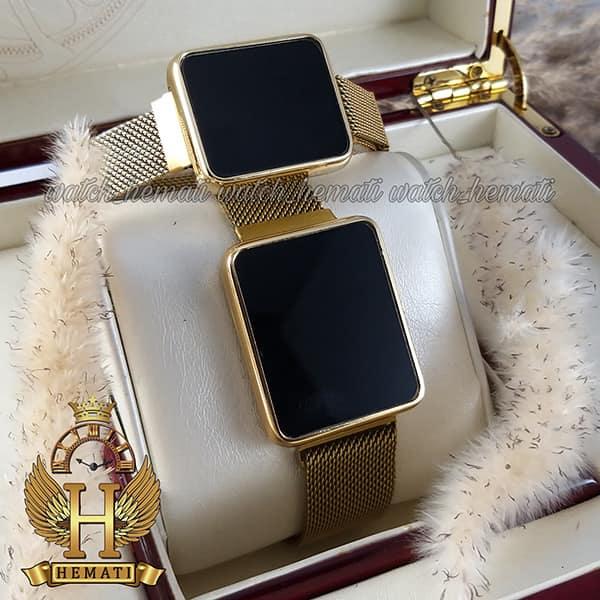 خرید انلاین ساعت ال ای دی ست زنانه و مردانه led109 (بند مگنتی) قاب مستطیل و رنگ طلایی