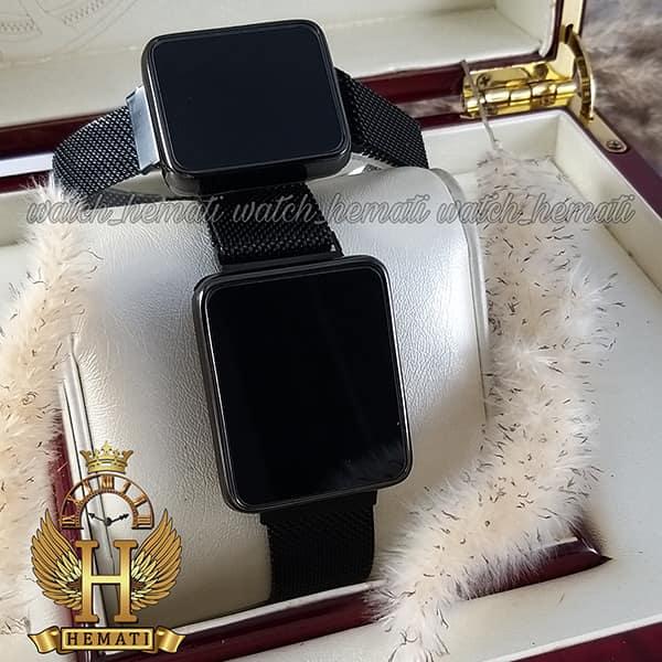 خرید ، قیمت ، مشخصات ساعت ال ای دی ست زنانه و مردانه led110 (بند مگنتی) قاب مستطیل و رنگ مشکی