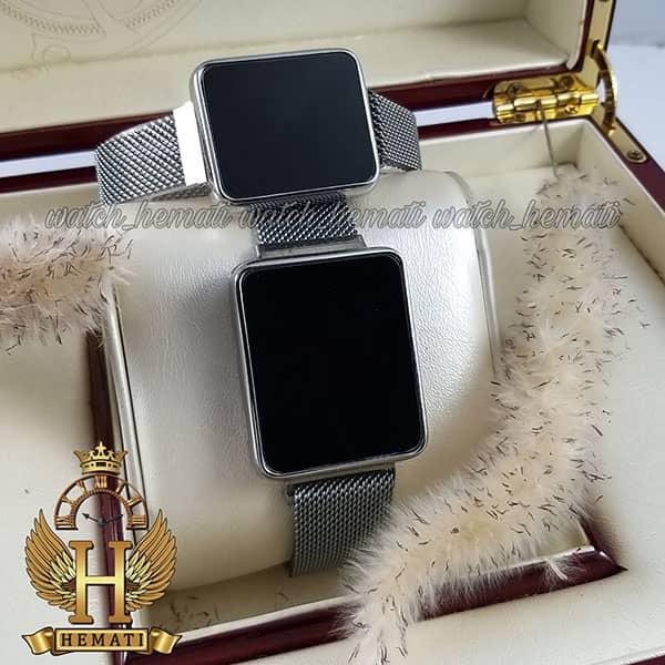 خرید ، قیمت ، مشخصات ساعت ال ای دی ست زنانه و مردانه led111 (بند مگنتی) قاب مستطیل و رنگ نقره ای