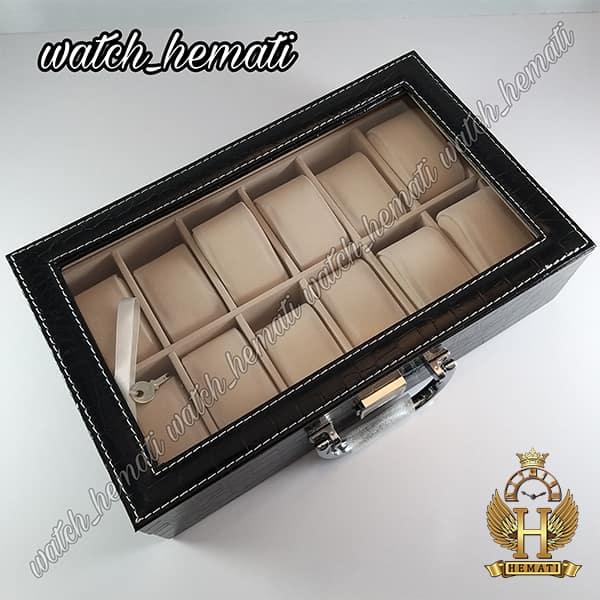 قیمت جعبه ساعت چوبی روکش چرم قهوه ای 12 تایی کلکسیونی BOX1201 درب شیشه ای با قفل کلید دار
