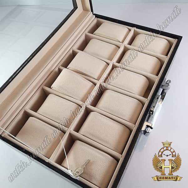 مشخصات جعبه ساعت چوبی روکش چرم قهوه ای 12 تایی کلکسیونی BOX1201 درب شیشه ای با قفل کلید دار