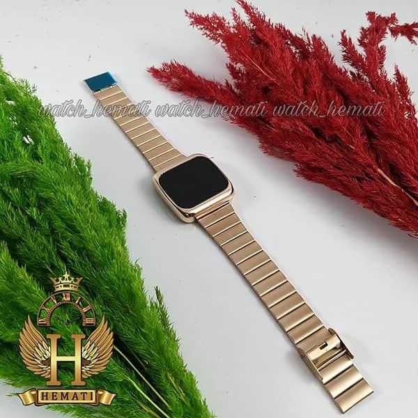 خرید ، قیمت ، مشخصات ساعت ال ای دی اسپرت FOL110 قاب مربع بند استل حصیری تیکه ای رنگ رزگلد
