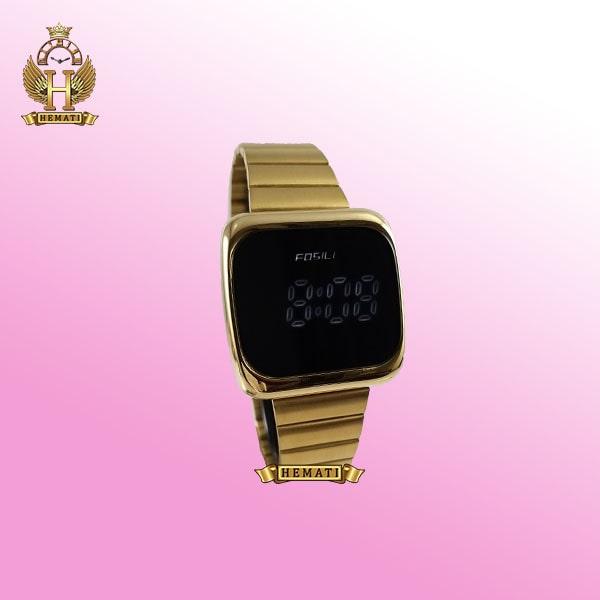 ساعت ال ای دی اسپرت FOL111 قاب مربع بند استل حصیری تیکه ای رنگ طلایی