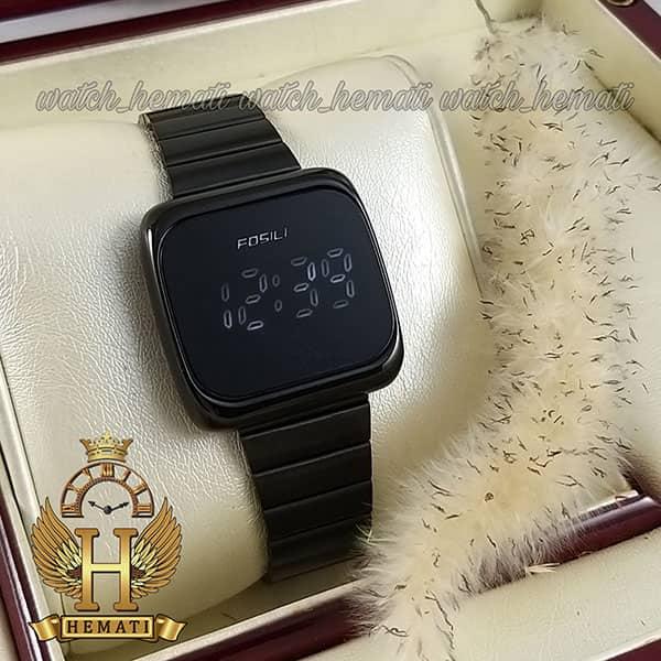 خرید ارزان ساعت ال ای دی اسپرت FOL112 قاب مربع بند استل حصیری تیکه ای رنگ مشکی