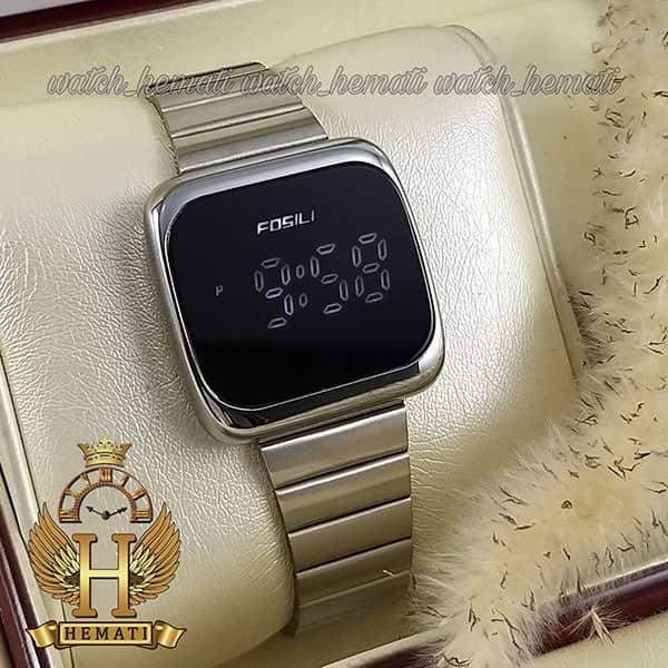 خرید ارزان ساعت ال ای دی اسپرت FOL113 قاب مربع بند استل حصیری تیکه ای رنگ نقره ای