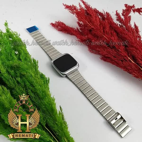 خرید ، قیمت ، مشخصات ساعت ال ای دی اسپرت FOL113 قاب مربع بند استل حصیری تیکه ای رنگ نقره ای