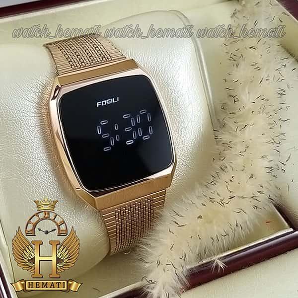 خرید اینترنتی ساعت ال ای دی اسپرت FOL105 صفحه مربع رنگ تمام رزگلد