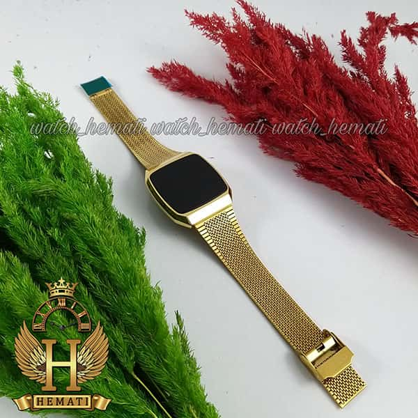 خرید ، قیمت ، مشخصات ساعت ال ای دی اسپرت FOL106 صفحه مربع رنگ تمام طلایی