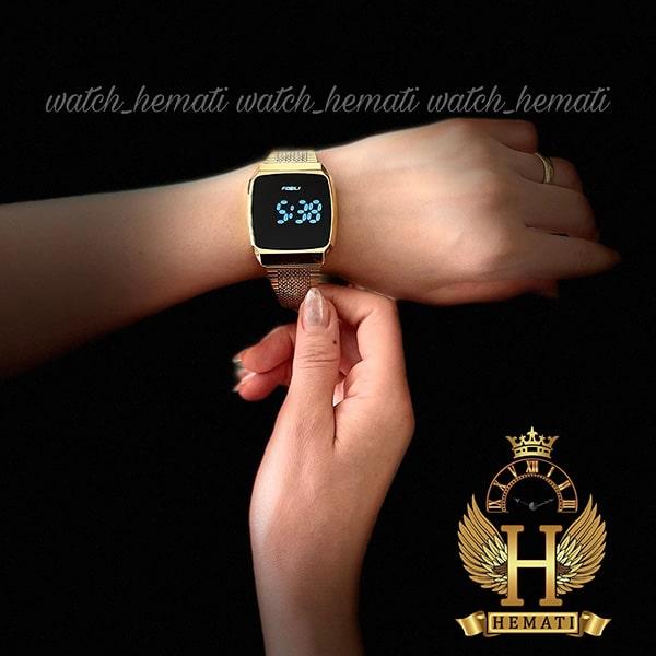 خرید اینترنتی ساعت ال ای دی اسپرت FOL106 صفحه مربع رنگ تمام طلایی