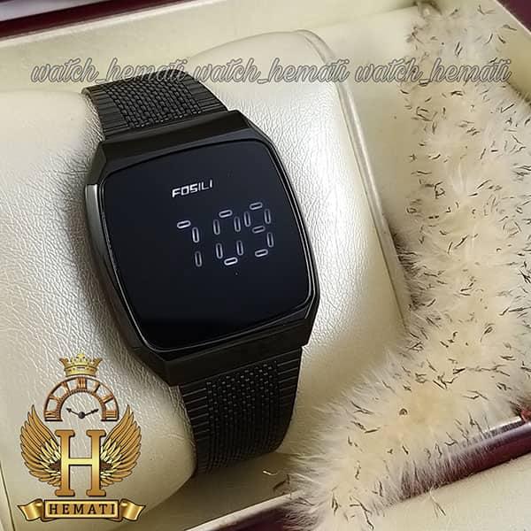 خرید اینترنتی ساعت ال ای دی اسپرت FOL107 صفحه مربع رنگ تمام مشکی