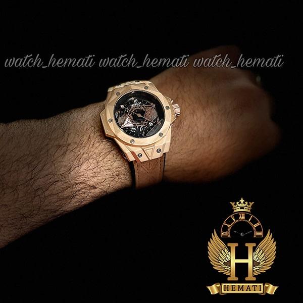 خرید انلاین ساعت مردانه هابلوت بیگ بنگ Hublot Big Bang HUC101 قاب هندسی (عقربه عنکبوتی) قاب رزگلد با بند قهوه ای روشن