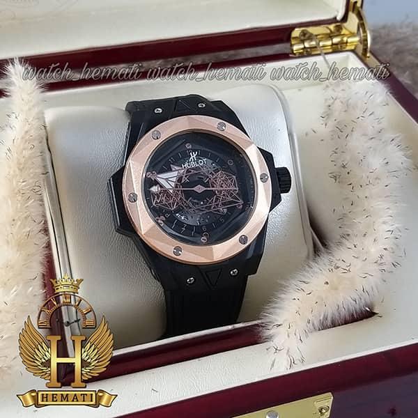 خرید ساعت مردانه هابلوت بیگ بنگ Hublot Big Bang HUC103 قاب هندسی (عقربه عنکبوتی)قاب و بند صفحه مشکی با دور قاب رزگلد