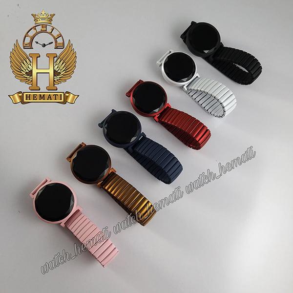 خرید ، قیمت ، مشخصات ساعت ال ای دی دخترانه بند کشی صفحه دایره ای در رنگبندی