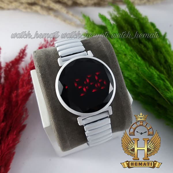 خرید ، قیمت ، مشخصات ساعت ال ای دی دخترانه بند کشی A202 صفحه دایره ای رنگ سفید