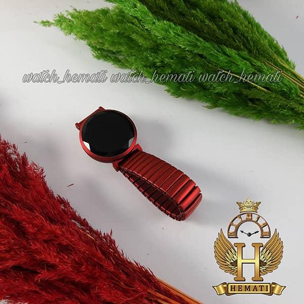 خرید ، قیمت ، مشخصات ساعت ال ای دی دخترانه بند کشی A204 صفحه دایره ای رنگ قرمز