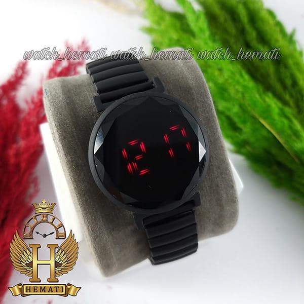 خرید ، قیمت ، مشخصات ساعت ال ای دی دخترانه بند کشی A205 صفحه دایره ای رنگ مشکی