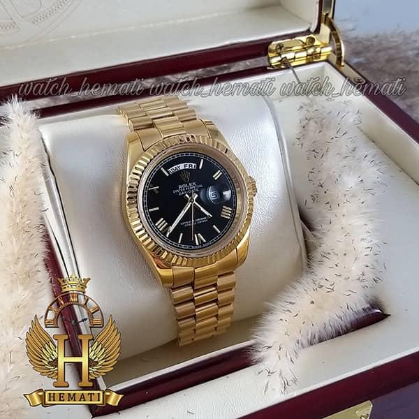 ساعت مچی مردانه رولکس دی دیت Rolex Daydate RODDM300 قاب و بند استیل طلایی ، صفحه مشکی