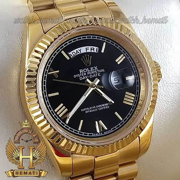خرید اینترنتی ساعت مردانه رولکس دی دیت Rolex Daydate RODDM300 قاب و بند استیل طلایی ، صفحه مشکی