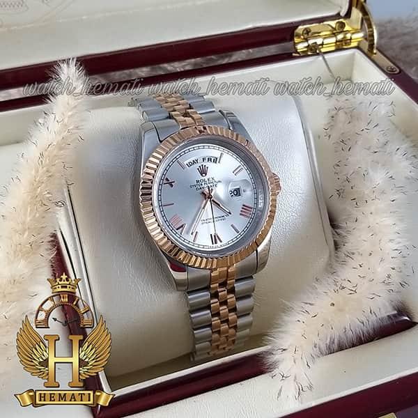 خرید اینترنتی ساعت مردانه رولکس دی دیت Rolex Daydate RODDM301 نقره ای رزگلد صفحه نقره ای