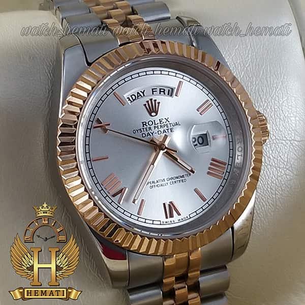 خرید ارزان ساعت مردانه رولکس دی دیت Rolex Daydate RODDM301 نقره ای رزگلد صفحه نقره ای
