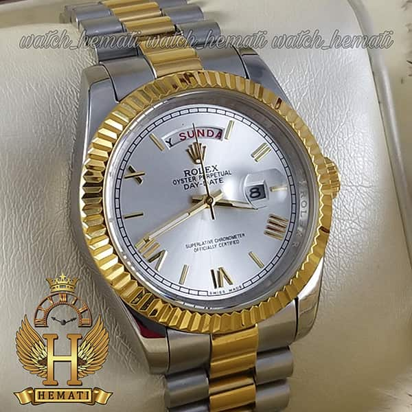 خرید انلاین ساعت مردانه رولکس دی دیت Rolex Daydate RODDM302 نقره ای طلایی و صفحه نقره ای