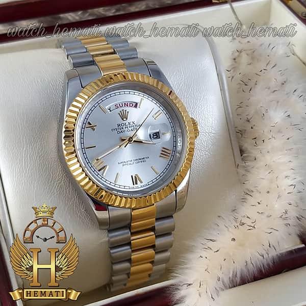 خرید ، قیمت ، مشخصات ساعت مردانه رولکس دی دیت Rolex Daydate RODDM302 نقره ای طلایی و صفحه نقره ای