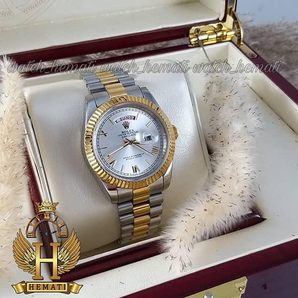 خرید ارزان ساعت مردانه رولکس دی دیت Rolex Daydate RODDM302 نقره ای طلایی و صفحه نقره ای