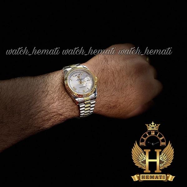 ساعت مردانه رولکس دی دیت Rolex Daydate RODDM302 نقره ای طلایی و صفحه نقره ای