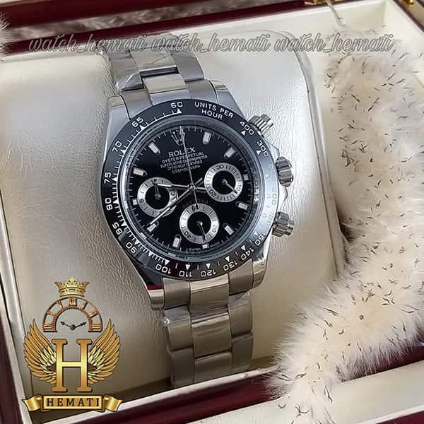 خرید اینترنتی ساعت مردانه رولکس دیتونا Rolex Daytona RODTM301 قاب و بند نقره ای ، صفحه و دور قاب مشکی