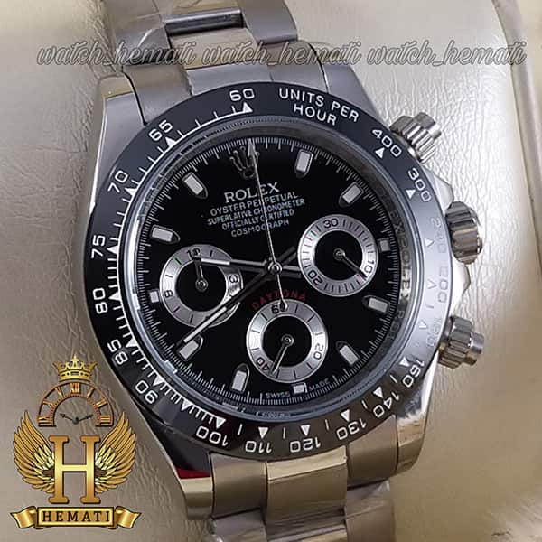 خرید ساعت مردانه رولکس دیتونا Rolex Daytona RODTM301 قاب و بند نقره ای ، صفحه و دور قاب مشکی