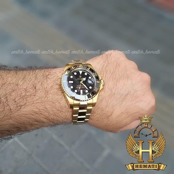 خرید ارزان ساعت مردانه رولکس ساب مارینر Rolex submariner rosb105 طلایی(صفحه مشکی)