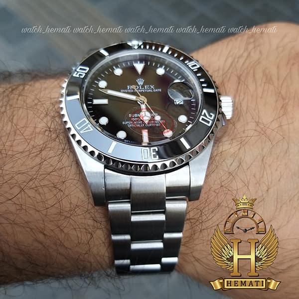 خرید اینترنتی ساعت مردانه رولکس ساب مارینر Rolex submariner rosb104 نقره ای(صفحه مشکی)