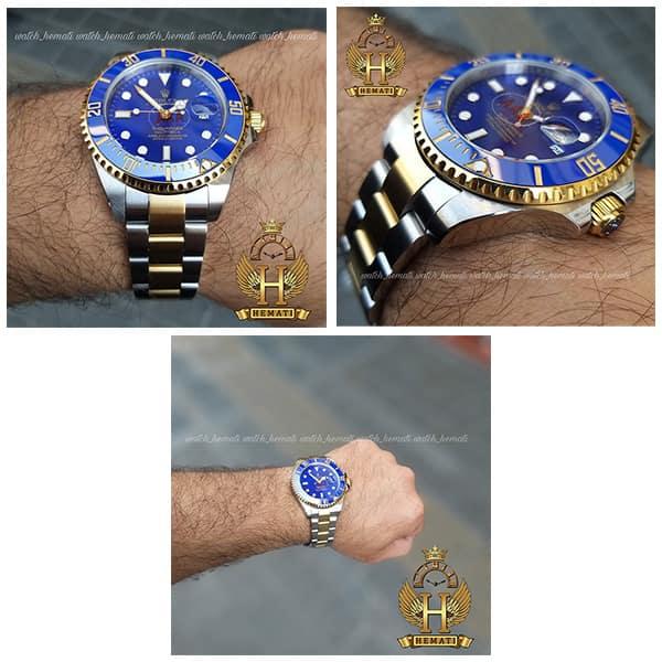 ساعت مچی مردانه رولکس ساب مارینر Rolex submariner rosb109 نقره ای_طلایی(صفحه آبی)