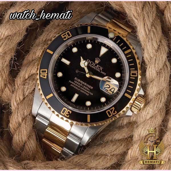خرید ارزان ساعت مردانه رولکس ساب مارینر Rolex submariner rosb107 نقره ای_طلایی(صفحه مشکی)