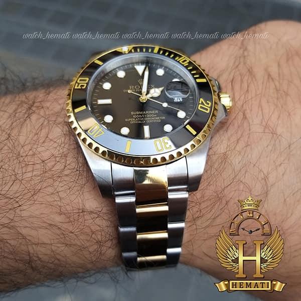 خرید اینترنتی ساعت مچی مردانه رولکس ساب مارینر Rolex submariner rosb107 نقره ای_طلایی(صفحه مشکی)