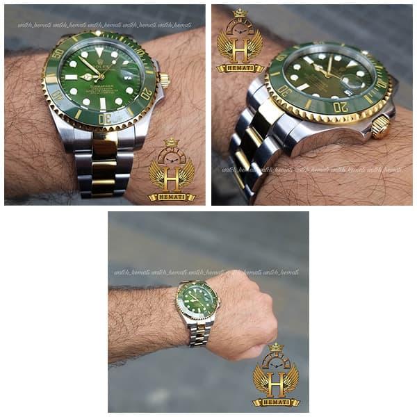 خرید اینترنتی ساعت مردانه رولکس ساب مارینر Rolex submariner rosb108 نقره ای_طلایی(صفحه سبز)