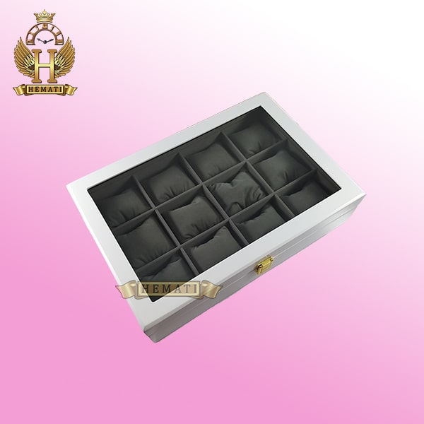 جعبه ساعت کلکسیونی چوبی 12تایی رنگ سفید box12110 درب شیشه ای جیر داخل جعبه طوسی با بالشت سنتی