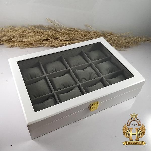 خرید ، قیمت ، مشخصات جعبه ساعت کلکسیونی چوبی 12تایی رنگ سفید box12110 درب شیشه ای جیر داخل جعبه طوسی با بالشت سنتی