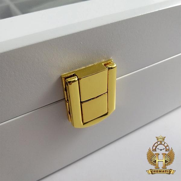 خرید اینترنتی جعبه ساعت کلکسیونی چوبی 12تایی رنگ سفید box12110 درب شیشه ای جیر داخل جعبه طوسی با بالشت سنتی