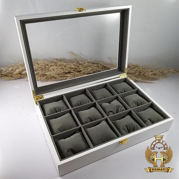 خرید انلاین جعبه ساعت کلکسیونی چوبی 12تایی رنگ سفید box12110 درب شیشه ای جیر داخل جعبه طوسی با بالشت سنتی