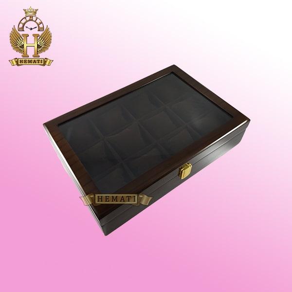 خرید ، قیمت ، مشخصات جعبه ساعت کلکسیونی چوبی 12تایی رنگ قهوه ای box12112 درب شیشه ای با بالشت سنتی